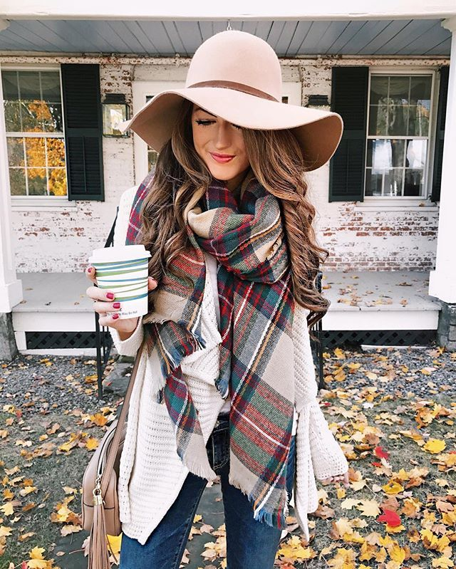 fall outfit. blanket plaid scarf, wool hat, hair, red nails, neutrals