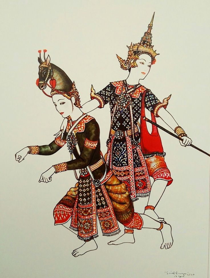 """""""Phra Rodhasen on a mount"""", 1977, watercolor on paper, by a Thai national artist Chakrabhand Posayakrit"""