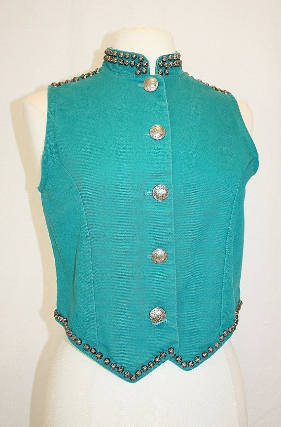 1990s Southwestern Vest Turquoise Metal Studded by Retromomo, $29.00