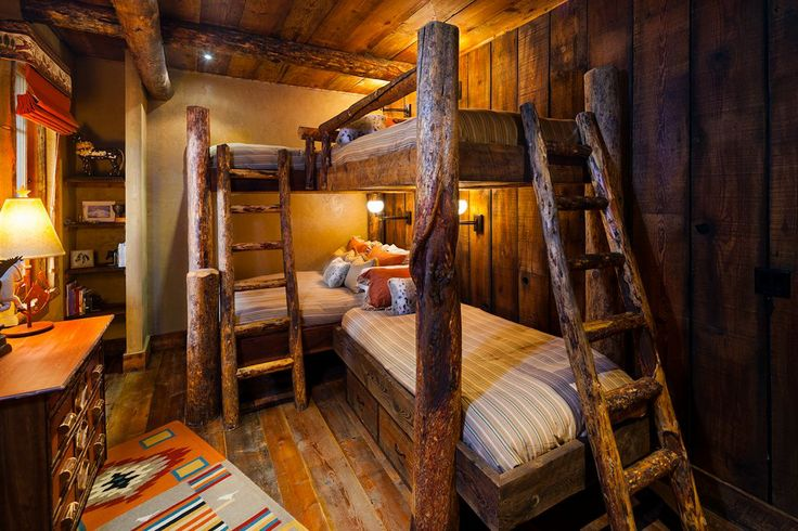 I 39 m loving the multiple bunks all the grandkids in one for Log cabin style bunk beds