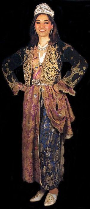 A traditional bridal costume from the province of Çankırı.  1900-1950. The long-sleeved embroidered vest is called 'fermene'.  (Source: page 60 of 'Tarihi Türk Kadın Kıyafetleri', printed in Istanbul, 1986).