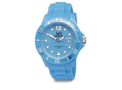 Light Blue Lolliclock watch with date. 44mm Polycarbonite case and silicon strap, printing dial up index, 5ATM 3 hands date movement PC32. Buy online at www.lolliclock.com.au