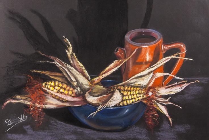 Pilar S. Robles. Mazorcas de maíz secas. Pastel. 68x52.