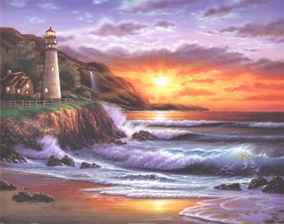 Lighthouse Sunset Cross Stitch Pattern  LOOK by JAYLM2006 on Etsy, $4.95
