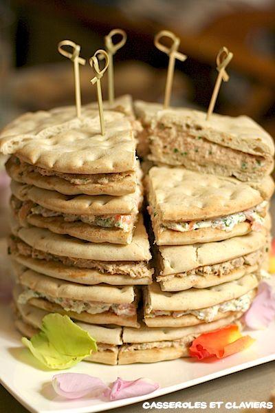 Ingrédients: 2 paquets de pain suédois, soit 10 tranches rillettes de thon 4 tranches de saumon fumé 150 g de fromage type St Morêt 2 c. à soupe de yaourt 6 brins de cerfeuil ciselés le zeste d'un demi citron jaune Read more...