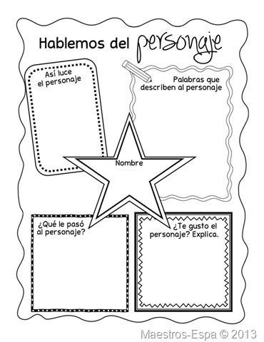 Recursos para maestros de español. Blog con muchos materiales e ideas. Organizador-hablemos-del-personaje
