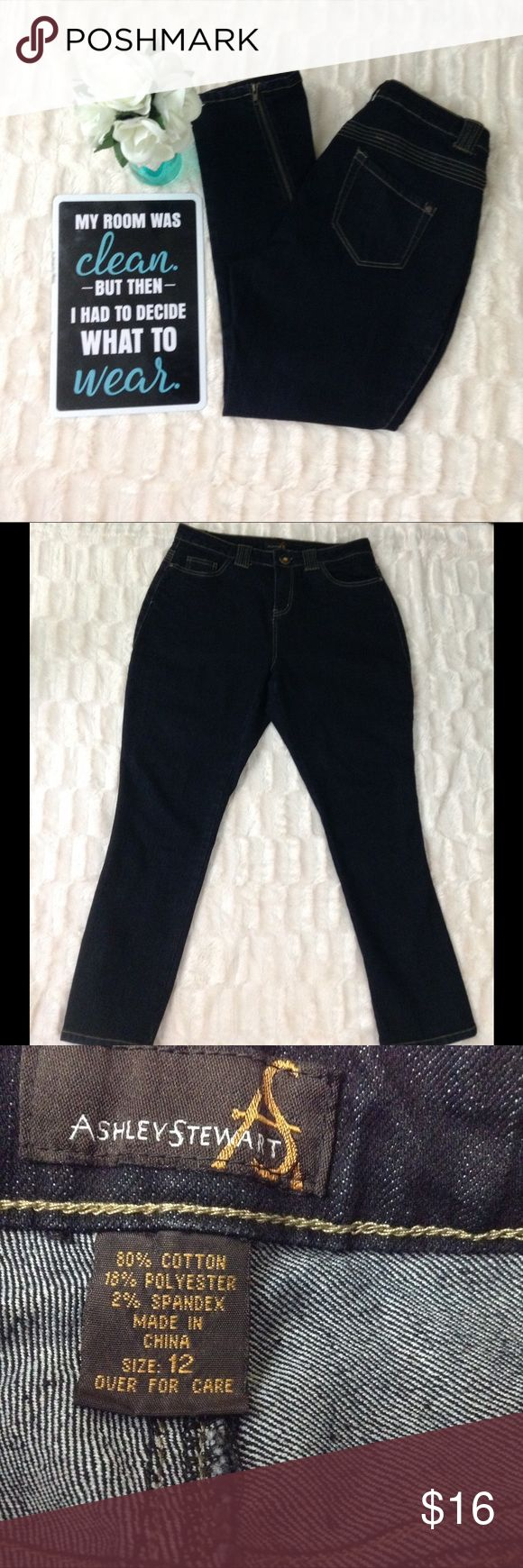 """Ashley Stewart cropped jeans with zipper size 14 Ashley Stewart womens cropped jeans with zipper  Size 14 Inseam 28"""" Dark wash with tan stitching Has zippers on the bottom calf area """"see pic"""" Pre owned  Excellent used condition Ashley Stewart Jeans Ankle & Cropped"""