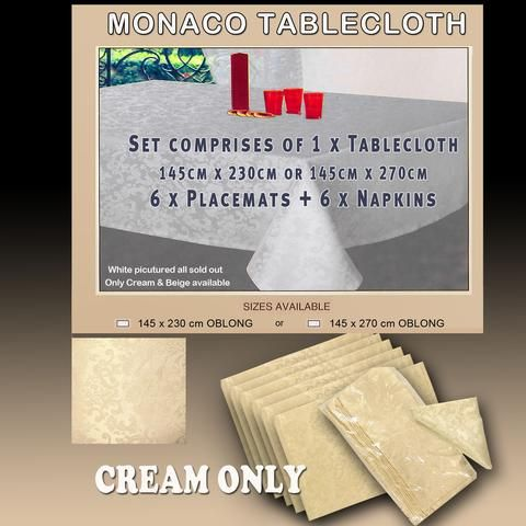 Monaco Tablecloth complete Table Setting Promo Special in Cream