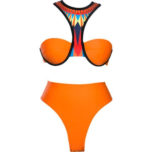 Narai Bikini ($125) ❤ liked on Polyvore featuring swimwear, bikinis, bikini swimwear, cut out bikini top, push up swim top, tankini top and push up bikini