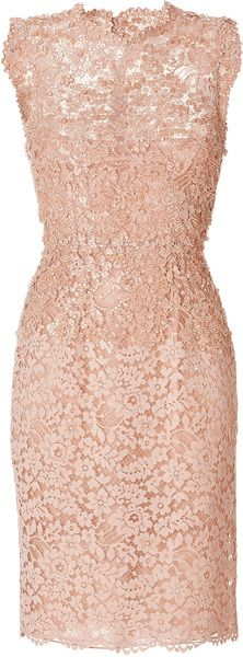 Beaded Lace Dress - Lyst VALENTINO Pink Beaded Lace Dress Pretty in peach with allover tonal embellishment, Valentino's stunning lace sheath is the ultimate in elegance.