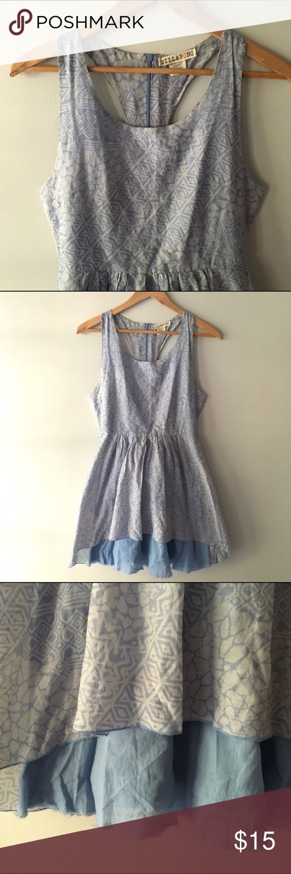 """Billabong Sun Dress Adorable and versatile Billabong sundress in beautiful robin's egg blue. The front of the skirt is high-low to reveal the blue slip layer beneath and has racer back. Hits the knee on me (5'8"""") Billabong Dresses"""