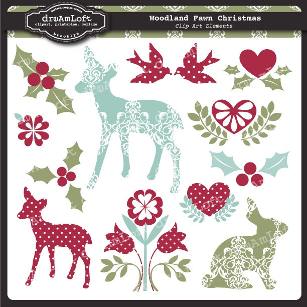 Woodland Fawn Christmas Collection for cards, stationary, invitations, scrapbooking and all paper crafts. $4.99, via Etsy.