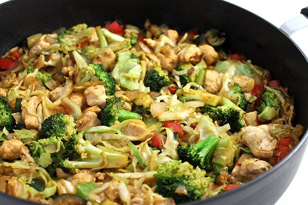 This dish is fabulously healthy and has the most delicious sauce! And, it's packed with chicken and veggies. You'll love the 2 cup serving size. Each serving = 5 smart points