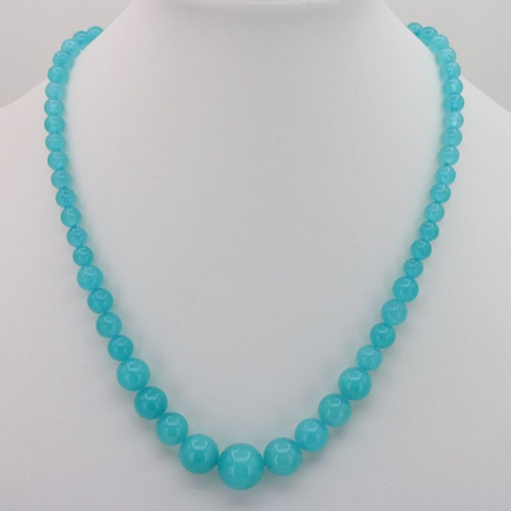 "Sea blue stone chalcedony round bead 6-14mm necklace 18 "" DIY stone send the same paragraph earrings, jewelry wholesale retail"