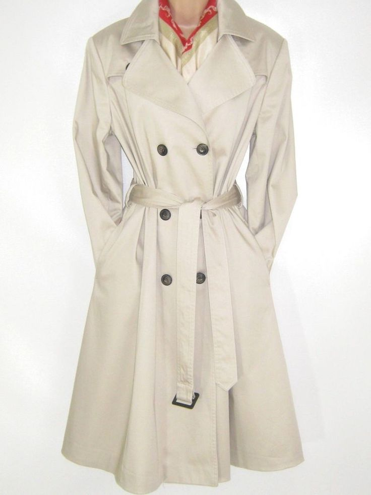 LAURA ASHLEY CLASSIC BRITISH STONE BEIGE COTTON TRENCH COAT / MAC, 16