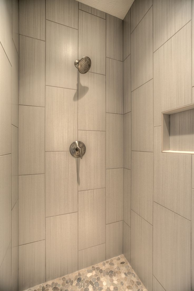 Master Shower With Vertical Tile Shower Shelf Pebble