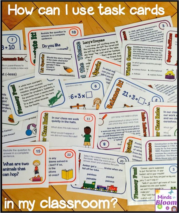 Task cards are a great option for reinforcing skills and offering enrichment because unlike worksheets, they can be used again and again. You can make your own to target specific areas and of course there are many for sale, including mine (pictured above).Print on card stock, ideally in color, but grayscale will work too. If you laminate them, they will last for years. You can