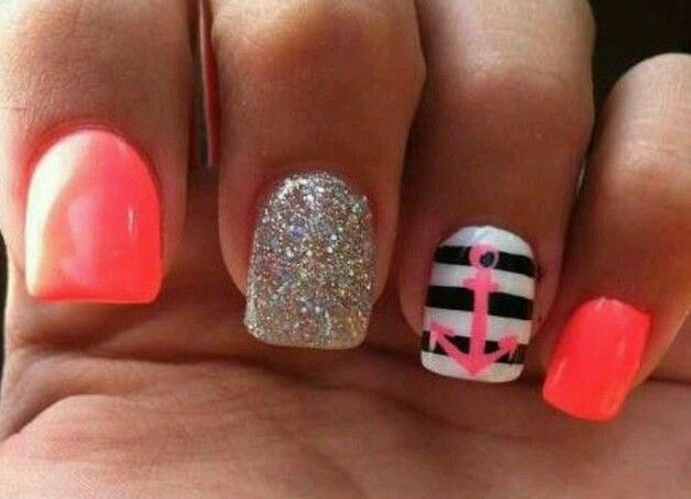 Summer orange and pink anchor nail design - 76 Best Pretty Nails Images On Pinterest Nail Art Designs