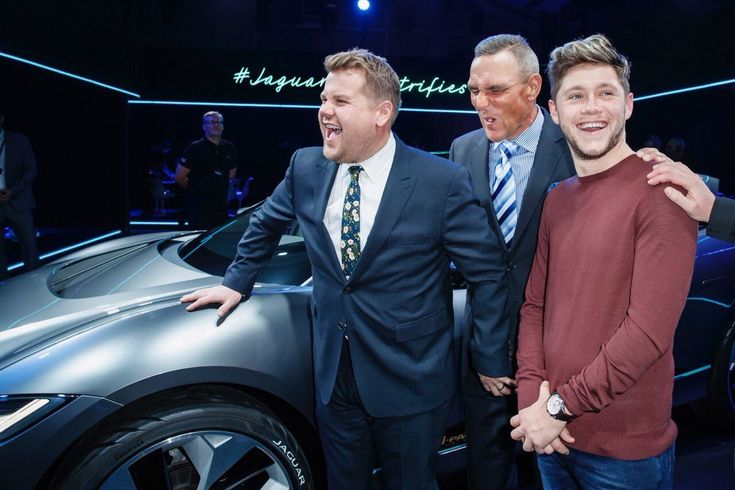 Niall with James Corden and Vinnie Jones at the Jaguar Concept Reveal in LA