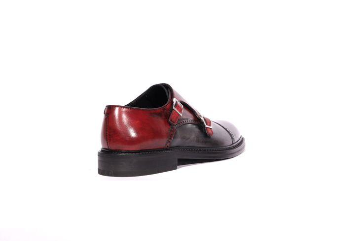 scarpe uomo in vera pelle artigianali articolo 903 grigio e rosso black brushed vista dietro
