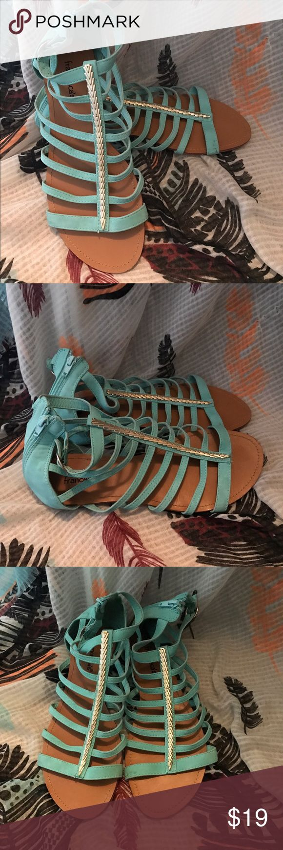 Turquoise Sandal with gold hardware, Size 9 Turquoise Sandal with gold hardware, Size 9, in excellent, gently worn condition. Francesca's Collections Shoes Sandals