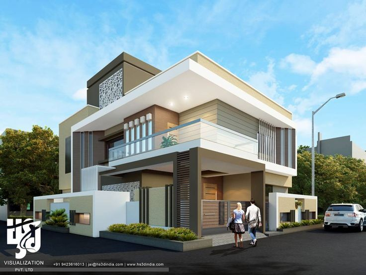 N Bungalow Front Elevation : Modern bungalow exteriordesign drender day view by