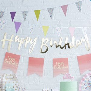 Pick & Mix Happy Birthday Gold Letter Bunting - 1.5m