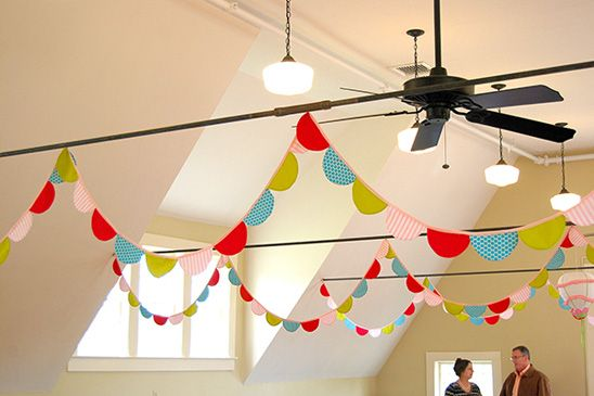 Love all the beautiful bunting! - Bright, Playful Baby Shower