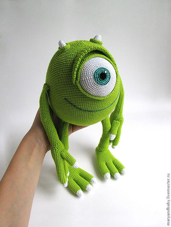 Mike Wazowski amigurumi crocheted by Гольцова Мария (maryandbaby) and sale on Russian site here