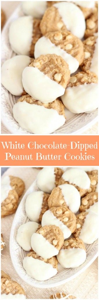 Easy white chocolate chip peanut butter cookies dipped in melted white chocolate!