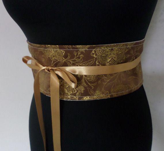 Ceinture japonaise Obi marron et doré