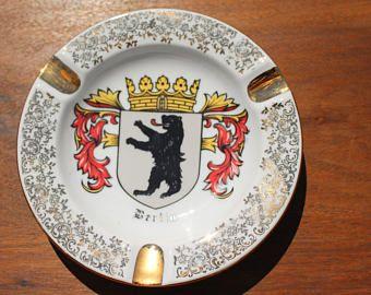 Vintage Coat of Arms Berlin cendrier en céramique avec bordure ornée dorée