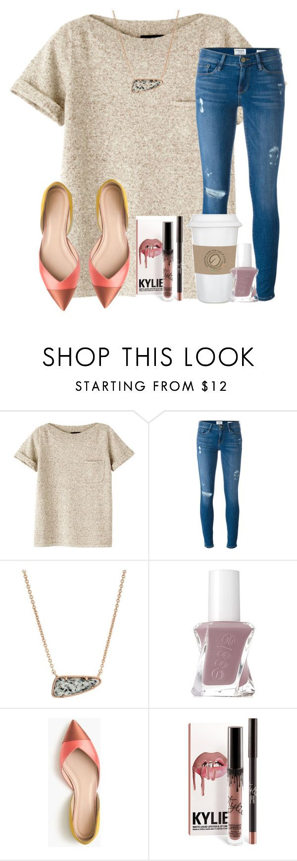 """""""GOOD MORINING!!!... not really"""" by christyaphan ❤ liked on Polyvore featuring A.P.C., Frame Denim, Kendra Scott, WALL, Essie and J.Crew"""
