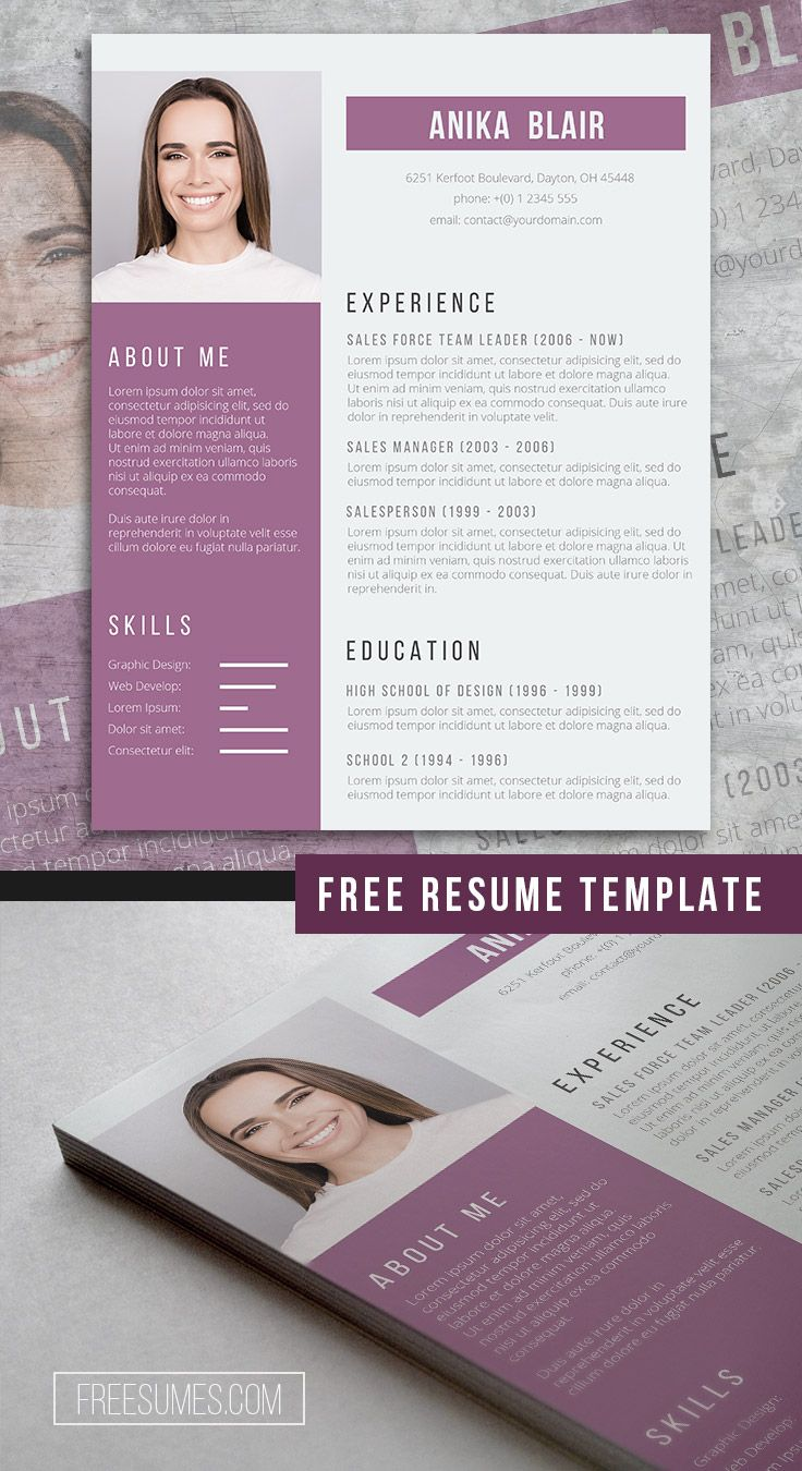 Beautiful Orchid A Free Purple Resume Template Freesumes Resume Template Resume Design Template Resume Design Free