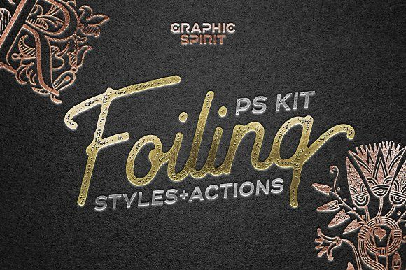 FOIL STAMP Photoshop Styles+Actions by Graphic Spirit on @creativemarket