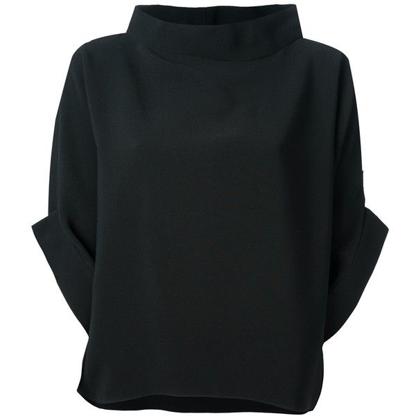 Maria Grachvogel Karikomi Blouse (2.055 BRL) ❤ liked on Polyvore featuring tops, blouses, shirts, blusas, black, wide neck tops, collar top, shirt top, kimono shirt and batwing blouse