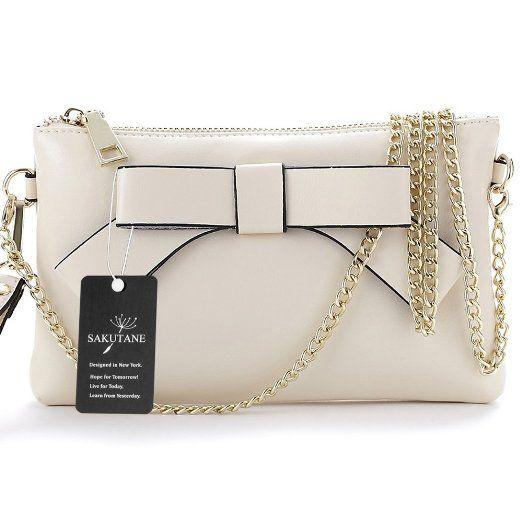 SAKUTANE borsetta con fiocco da donna, in vera pelle, con tracolla, pochette da donna, bianco (Giallo) - WB0022-White EURO 35,24