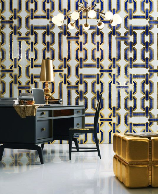 Amazing white, gold and royal blue 'links' mosaic wall. Gorgeous. Bisazza | saudi arabia wallpaper