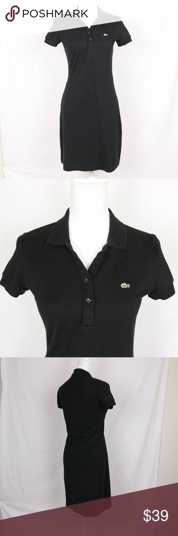 Lacoste Black Pique Polo Dress Short Sleeve 38 Women's Polo dress by Lacoste featuring a button up collar and the alligator logo at chest. The material has some stretch. Marker on inner label. Excellent pre-owned condition.   Size 38 (equal to US Size 6) Lacoste Dresses