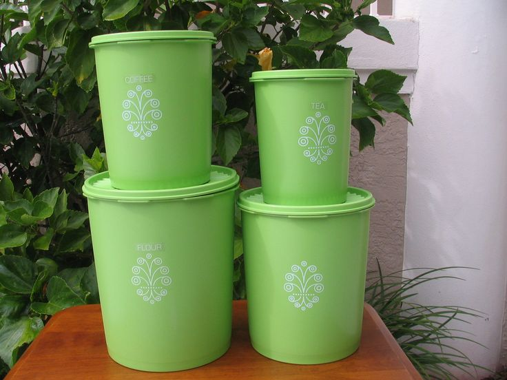 vintage 4 piece tupperware nesting decorative canister set lime apple green retro growing. Black Bedroom Furniture Sets. Home Design Ideas