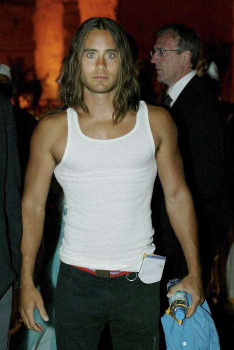 "Jared Leto during the filming of ""Alexander"". I'm a sucker for that long hair and extra muscle tone."