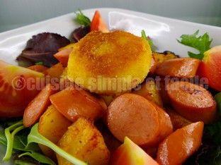 Salade tiède de pommes de terre, knacki et son babybel pané - Cuisine simple et facile
