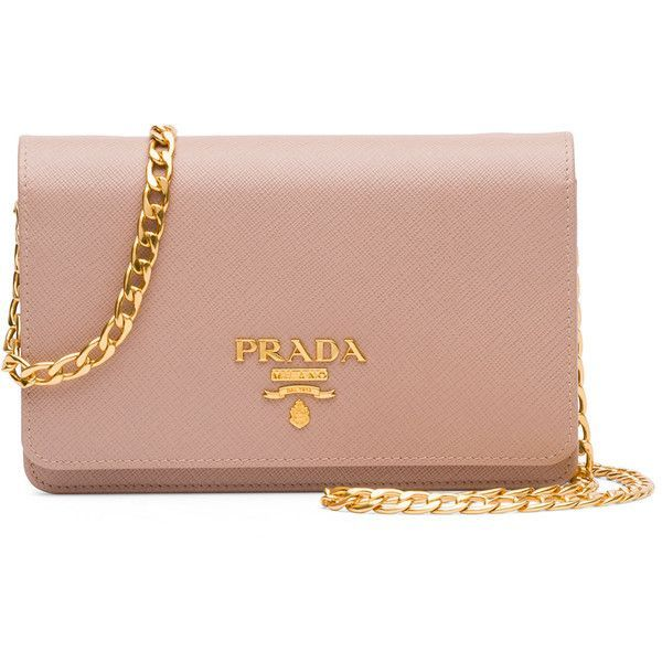 Prada Saffiano Lux Crossbody Bag (4.535 BRL) ❤ liked on Polyvore featuring bags, handbags, shoulder bags, blush, crossbody flap handbags, crossbody purse, beige handbags, chain strap purse and chain handle handbags