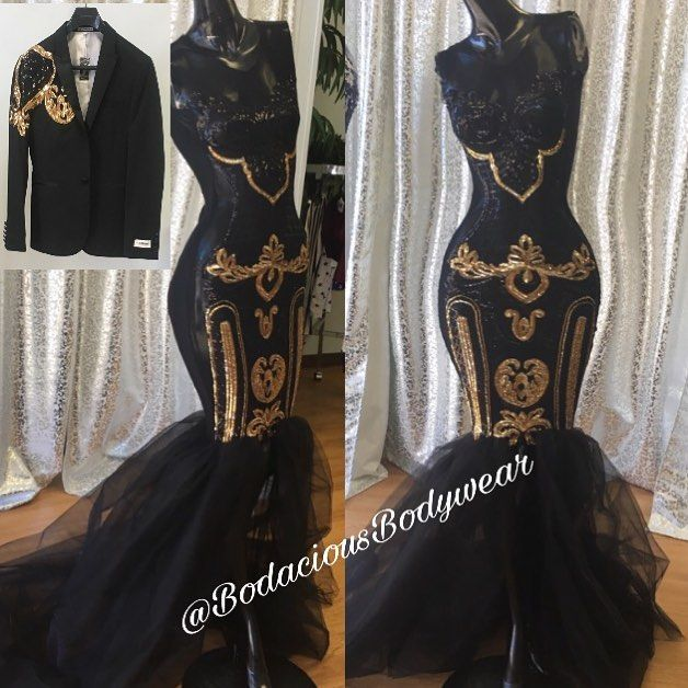 "When your loyal client wants you to dress her and her Spouse and says ""Do You, Just make it Black and Gold"" *Check Out that Blazer in the top left corner   #EmpireTheme #CustomBlazer #SequinDresses #Sequin #Prom2k18 #BodaciousBodywear #SpandexDress #BirthdayDress #custommadedress #Custommade #IrredesentSequin #Mesh #BigButt"