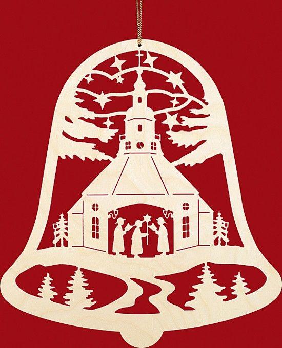 Taulin Fensterbild Weihnachten Seiffener Kirche in der Glocke
