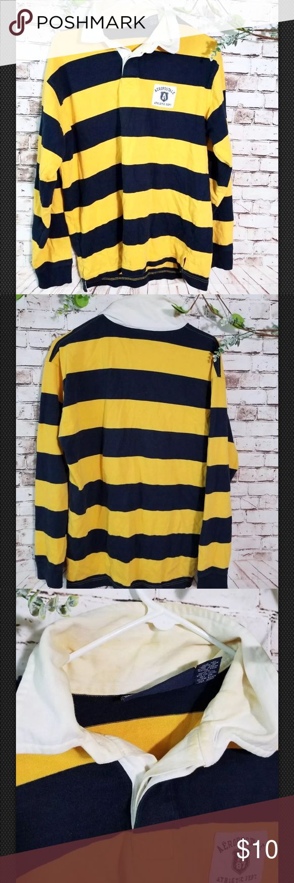 Aeropostale Men's Long Sleeve polo shirt 👕 Some faint yellow stains in collar due to dye! Great condition, bundle & save , or ask for additional discount, we add new inventory everyday, also most clothes we sell are pre loved which might have some signs of use , unless noted otherwise that's it's new or like new or has flaws Aeropostale Shirts Polos