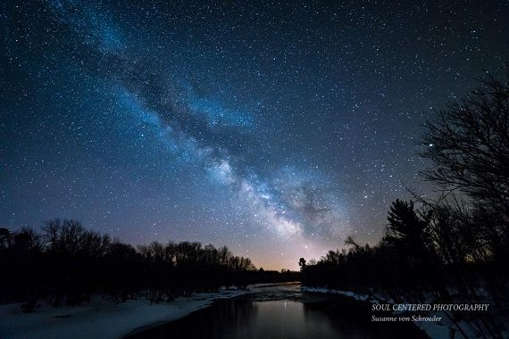 Astro Photography Milky Way Starry Night Fine Art Print Dark Blue River Tree Silhouette Magical U Astrophotography Nature Photography Night Photography