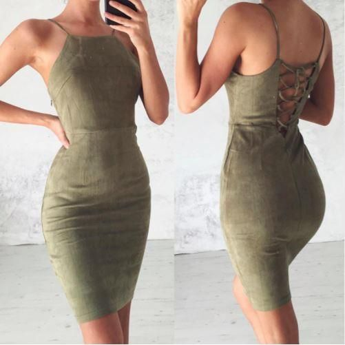 Open Back Suede Lace Up Women Sheath Midi Dress - Daisy Dress For Less