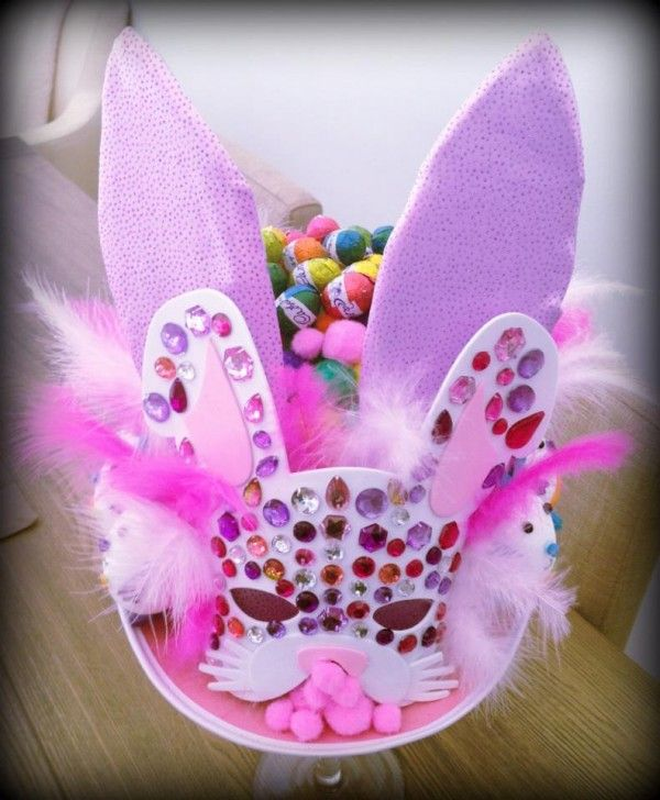 Easter Bonnet Hat Ideas (Results - perfect idea for my daughter, she loves pink, gems, glitter and rabbits!)