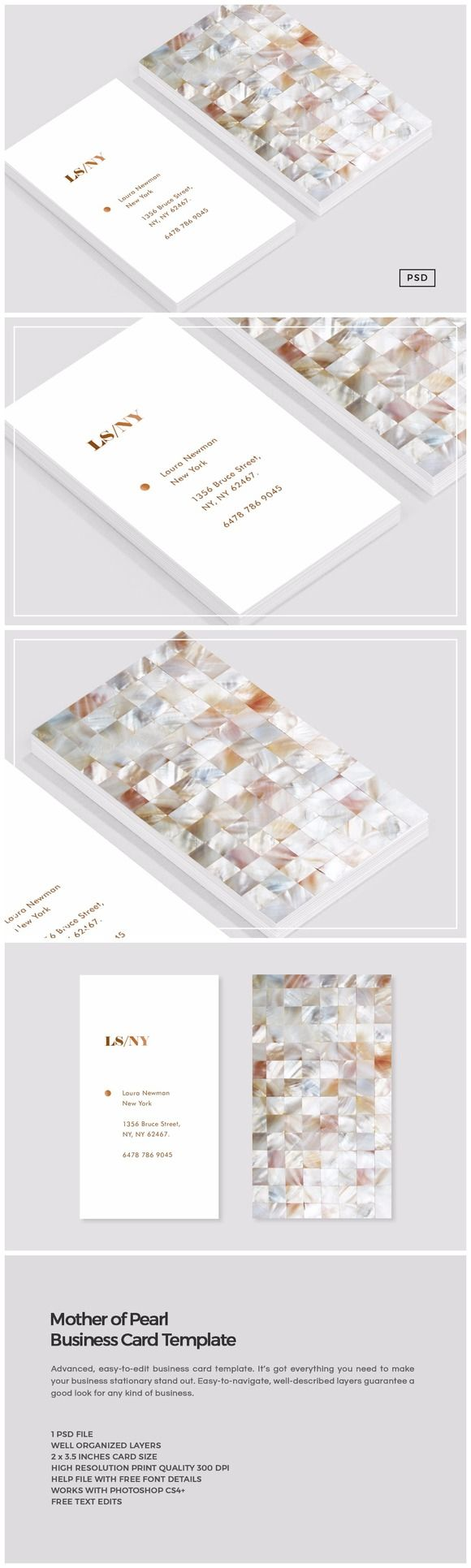 Mother of Pearl Business Card by The Design Label on @creativemarket